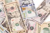 stock photo of twenty dollars  - Close up of different dollar bills - JPG