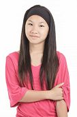 young asian girl , isolated on white background