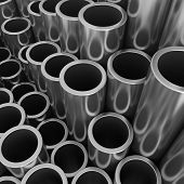 Stack of steel pipes.
