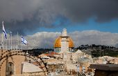picture of aqsa  - Roofs of Muslim Quarter of Jerusalem at a stormy sunset - JPG