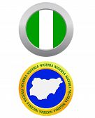 picture of nigeria  - button as a symbol NIGERIA flag and map on a white background - JPG