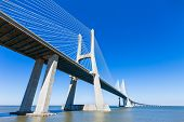 picture of bridge  - The Vasco da Gama Bridge in Lisbon Portugal - JPG