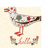 Elegant hello card with flying seagull