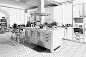 3D rendering / Wireframe of a modern kitchen