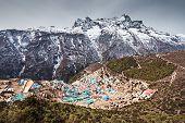 foto of sherpa  - Namche Bazaar aerial view Everest trek Himalaya Nepal - JPG