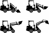 Skid steer loaders. Heavy construction machines. Vector illustration