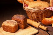Close up of composition with bread in wicker basket