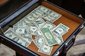 Open Leather Briefcase With Money