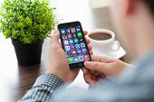 Set Of Social Networking On iPhone 6 In Man's Hands
