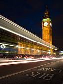 Light trail from traffic passing the Houses of Parliament on Westminster Bridge