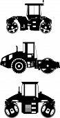 Compactors. Heavy construction machines. Vector illustration