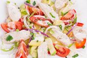 Warm meat salad with vegetables