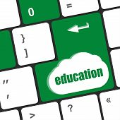 Computer Keyboard With Key Education, Internet Learn Concept