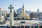 Tallinn, Estonia  Celebrating of Day of Independence and the Defence Forces parade on Freedom Square
