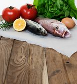 Fresh fish and vegetables
