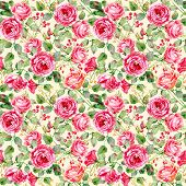 Seamless pattern of watercolor red  roses.