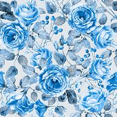 Seamless pattern of watercolor blue  roses.