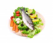 fresh seabass and vegetables