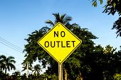 No Outlet Sign In Yellow