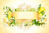 Yellow banner with flowers
