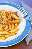 picture of ground-beef  - Penne pasta with ground beef meat sauce - JPG