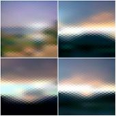 Blurred sunset hexagonal backgrounds set, sunrise wallpaper vector