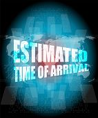 Estimated Time Of Arrival Words On Digital Screen