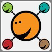 Joyous Stylized Face In Orange