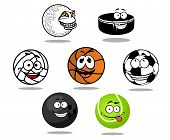 Cartoon game balls characters