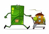 Cartoon credit card pushing a cart with house