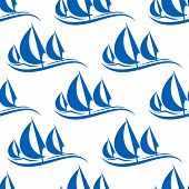picture of yachts  - Blue yachts seamless pattern on white background for regatta or any yachting sports design - JPG