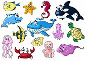 Cartoon sea animals with happy emotions