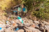 picture of wooden shack  - a wooden shack on the beach of a thai tropical island - JPG
