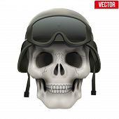 Human skull with Military helmet.