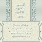 Baroque wedding invitation, blue and beige