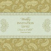 Wedding invitation in gold and beige style