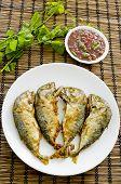 Shrimp Paste Chilli Sauce (nam Prik Ka Pi) Serve With Fried Indian Mackerel, Thai Food