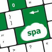 Healthy Lifestyle Shown By Spa Computer Button, Keyboard Keys