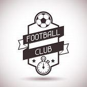 Sports label with football symbols.