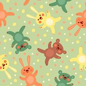Kids seamless pattern with cute teddy bears and bunnies.