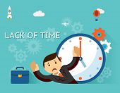 Timemanagement. Lack of time concept. Businessman and clock