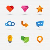 Set of modern flat paper icons or logo elements