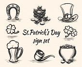 Hand drawn St Patricks Day signs