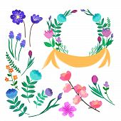 Floral Collection. Beautiful Greeting Card With Floral Wreath Perfect For Wedding Invitations And Bi