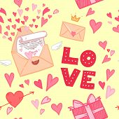 Hand-drawn Vector Illustration. Love Letter With Hearts, Gifts And Love.seamless Pattern