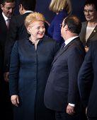 Dalia Grybauskaite And Francois Hollande