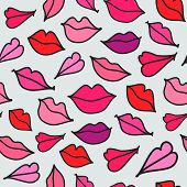 vector red hand drawn kisses
