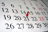 Calendar with Thumbtack