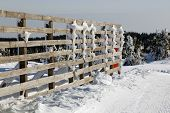 Fence in Kopaonik in winter,  Serbia.