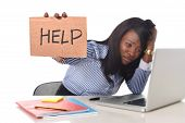 image of secretary  - black African American ethnicity tired and frustrated woman working as secretary in stress at work office desk with computer laptop asking for help in business frustration concept - JPG